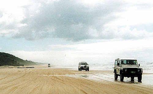 4WDs on Fraser Island.