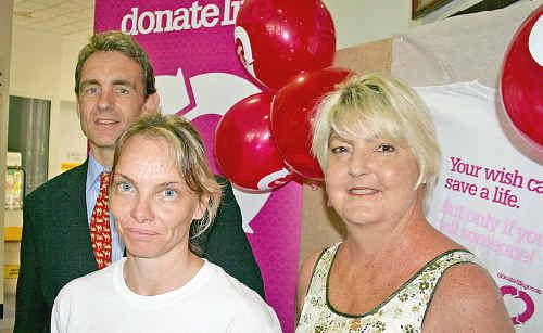 Dr Michael Lindley-Jones, clinical nurse specialist Lisa Warne and heart recipient Louise Owen.