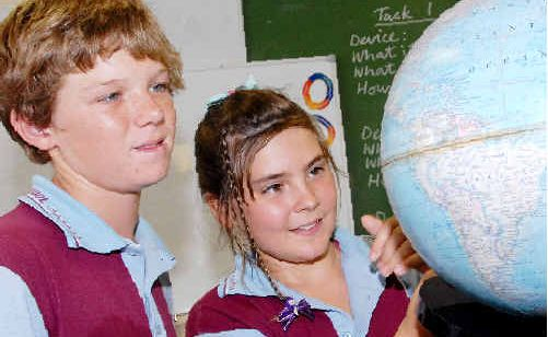 Slade Point State School captains Isaac Donnelly and Felicity Morris are keen to expand their science skills.