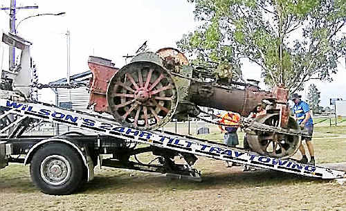The former Allora Shire Council steam roller was moved to a restoration site at the Highfields Pioneer Village Museum by new owner Bob Good.