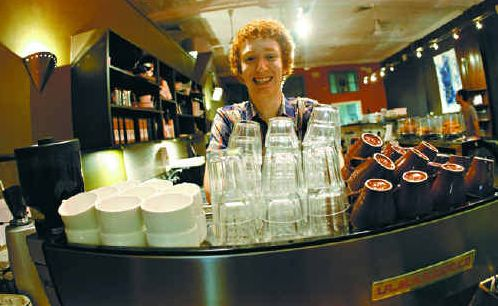IN HAPPIER TIMES: Andrew Yager worked as a barista to earn enough money to be able to go to university.