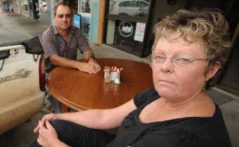 NOT HAPPY RICHIE: Prince Street Coffee House owner Desley McClymont put a table on the footpath in front of her shop yesterday with 'interesting' results. Comments on the draft outdoor dining policy can be made by following the 'On Exhibition' link at www.clarence.nsw.gov.au .