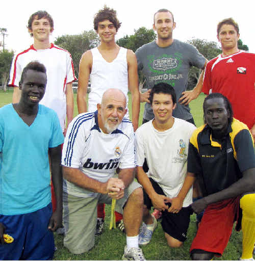 The Byron Bay Rams this year will field teams including (back row from left) Sam Robson (Switzerland), Tane Meek (New Zealand), Greg McDonnell (Ireland) and Bruce Knaggs (Trinidad and Tobago); (front row) Baitok Thoingkol (Sudan), coach Peter Ware (Scotland), Zen Vanderstuken (Singapore) and Gabriel Thoingkol (Sudan). Absent: Ian Lennie (United States).