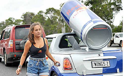 Red Bull promotions girl, Hannah Buttini, handed out drinks.