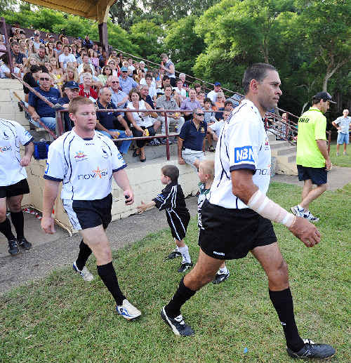 David Peachey led the Magpies on to the paddock for their clash with Army.