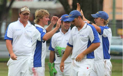 Tucabia Blue celebrate an Easts wicket at McKittrick Park.