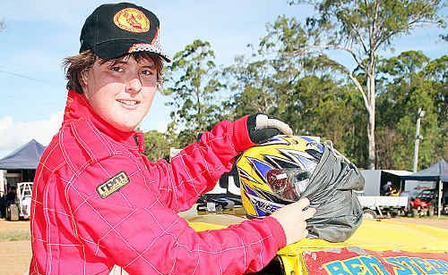 Kingaroy's Ben Stead, 16, was ready to hit the track in his Ford Laser for the Junior Street Sedan Championship.