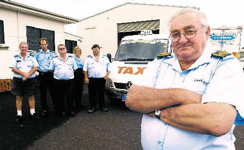 Noel Schumacher (front) and his fellow drivers from Casino Cabs (rear, from left) Greg Duhigg, Dylan Ellis, Rhonda Ryan, Reg Little and Trevor Vealey fear attacks on their taxis could result in a serious injury if they continue.
