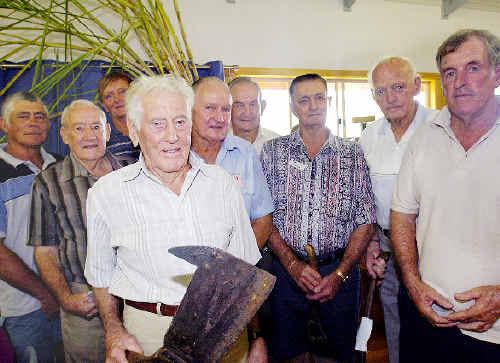 Catching up on old times at yesterday's reunion are Percy's Gang members Percy Powell (front) with (rear, from left) Russell Powell, Paddy Powell, Athol Sneesby, Terry McKeough, Dick Bell, Tom McLean, Jack Ryan and Jeff Butler.