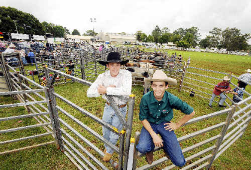 Competing at this year's Alstonville Rodeo were young guns Josh Lock (left) and 19-year-old apprentice butcher Jayden Sims.