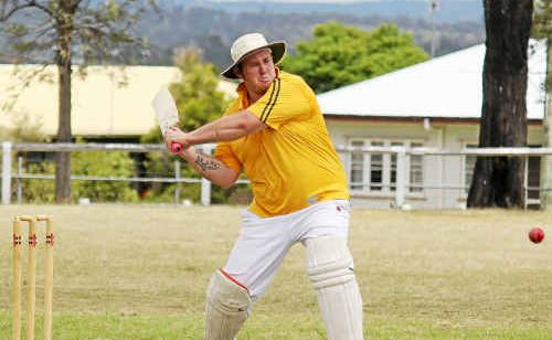 James Richards hits a six to secure a Criterion victory at Mayhew Oval on Sunday.
