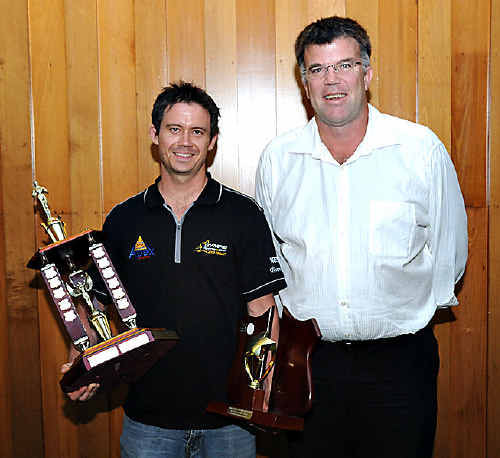 Gympie endurance mountain biking athlete Sean Bekkers received the title of 2009 Sports Star of the Year at the Civic Centre at the weekend. Bekkers overcame a quality field of finalists to take out the award and is pictured above with Gympie Apex president Glen Smith.