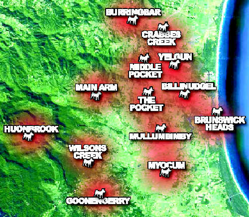 This map shows the area the feral dog packs have either attacked animals in or been seen roaming through.
