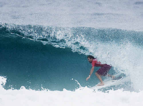 Keiren Perrow, riding through a wave at the Quiksilver Pro on the Gold Coast, will contest round 3 of the event today.