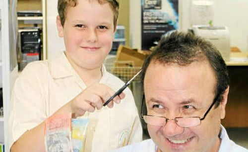 Zachery and Anthony Viola are prepared for the World's Greatest Shave to raise money.