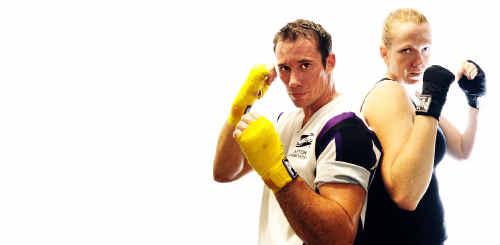 Josh Nagle and Joanne Hunt prepare for fights on Saturday in Nambucca Heads.