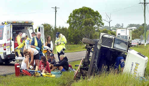 Nine backpackers were injured in a rollover on River Heads Road yesterday but, thankfully, no lives were lost.