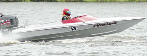 Les Kirby of Brisbane, in his Stray Bullett, will compete in the Open Outboard Class.