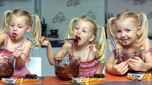 Nikki Horton, 3, loves licking the bowl when mum Valerie cooks with dark chocolate.