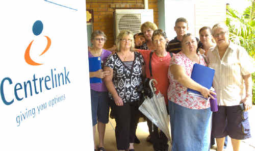 Former Lismore Private Hospital employees (from left) Jenny Wykes, Debbie Whalan, Vicki McCarthy, Katherine Parker, Jan Korenzia, Peter Davis, Lynda Hicks, Suskia Travis and Margaret Brennan at a support session organised by Page MP Janelle Saffin and Centerlink.