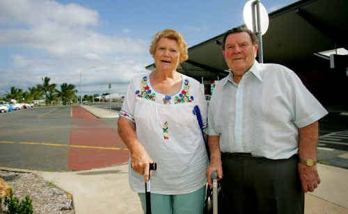 Zilzie pensioner and frequent flyer Joy Small and her friend Harold Schrivener from England were surprised to hear Jetstar will pull it's services from Rockhampton Airport.