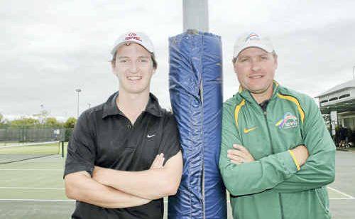 Tennis Queensland regional development coach Matthew Richards and Tennis Australia coach development co-ordinator Rob Leeds.