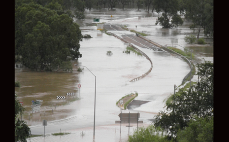 WATER LOGGED: The copeland bridge at Taroom was expected to be under even more water last night, with the Dawson River to peak late last night.
