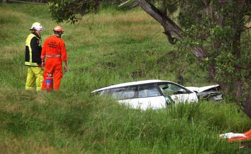 The fatal car accident near Seelands, where a car ran through a paddock and hit a tree near a creek.