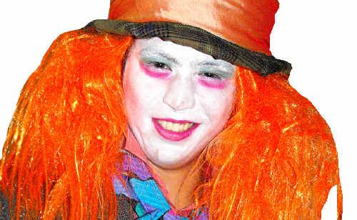 Jamie Eisel, from Hervey Bay BigScreen Cinemas, dressed as the Mad Hatter at the Alice in Wonderland premiere on Thursday night.