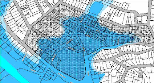 INUNDATED: Gympie's flood plan shows a one-in-100 year inundation of the CBD.