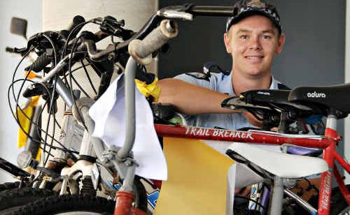 ON YOUR BIKE: Constable Dan McMah is encouraging people who have lost a bike, to check with police.