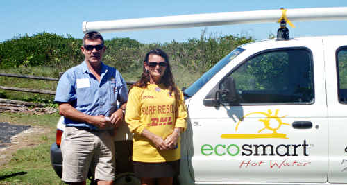Owner of Ecosmart Steve Vaughan and Bellinger Valley North Beach Surf Life Saving Club's Maree Young.