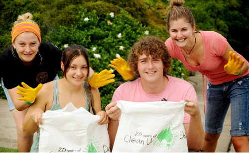 South Grafton High School students (from left) Chezarne Cuffe, Ruby Plesman, Josh Dennis and Tahlia Rose clean up.