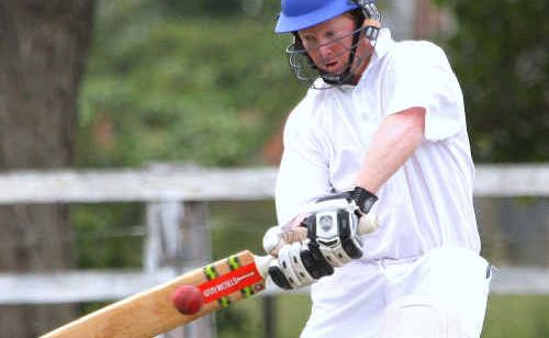 Westlawn batsman Brad Inmon greets the ball against Tucabia White.