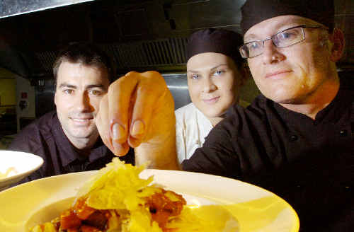 ON-Q employment consultant Dain Churchill helping first-year apprentice chef Ellen Geoghegan and chef Stephen Sayer by giving them the opportunity to follow the seasons with their career by offering six-month rotations at ski resorts in the winter and by the beach in the summer.