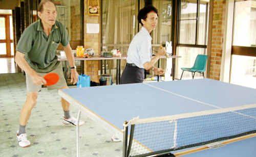 John Richards and Reta Ryagard in a doubles team in table tennis.