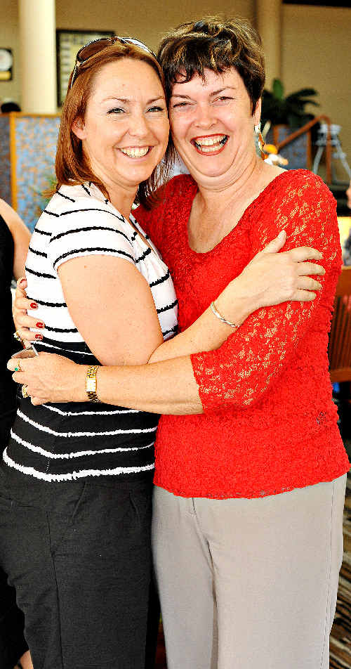 Leonie Kennedy (right) and Kelli Sadler enjoyed the Westpac Rescue Helicopter lunch.