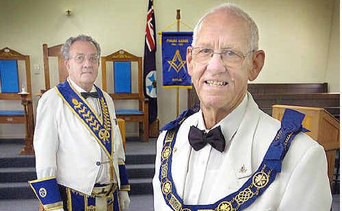Masons at the Pialba lodge are (left) RW Bro. Tony Ozanne and RW Bro. Arnold Horne.
