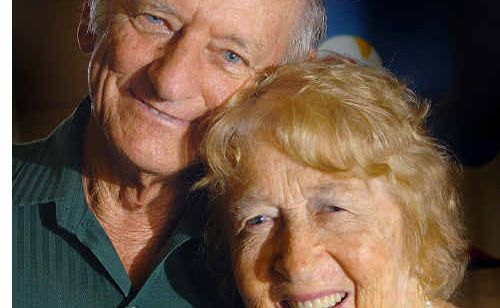 After 60 years of marriage, Ron and Fay Wyeth still beam as they embrace for a photo.