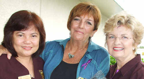Zonta Club members Imee Matheson and Carmel Murdoch catch up with former Chronicle editor Nancy Bates (centre) at Maryborough's International Women's Day breakfast.