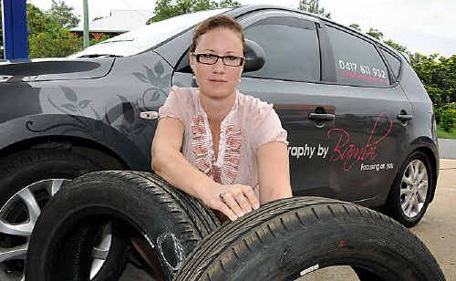 Bambi Wixon had to buy four new tyres after hitting two potholes on her way home from Maryborough.