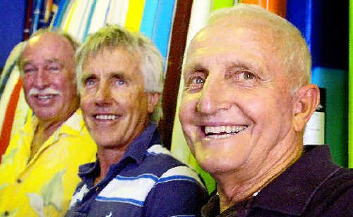 Producer of the new Australian surfing movie Going Vertical, Robert Raymond (left), film-maker David Bradbury and shaper Bob McTavish get together to promote their new film.