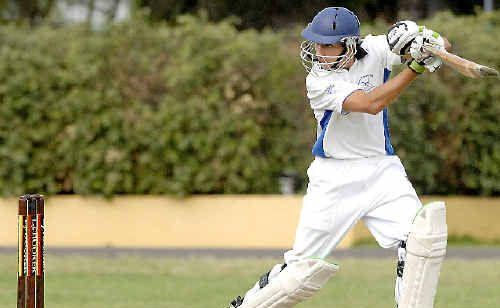 Dain Moreton bats like a seasoned pro for Marist Brothers in the LJ Hooker League (main), and can send down a mean spinner, too (above).