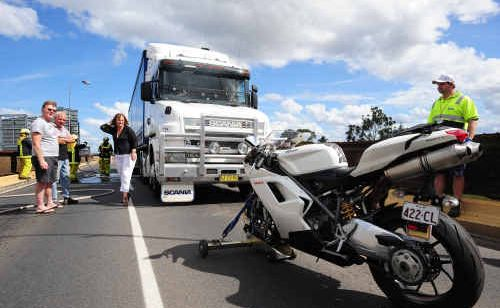 The scene of the crash on October 10 which left Gary Parr sore and sorry for crossing the Grafton Bridge.