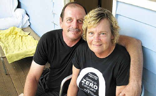 Kim Smith is facing the challenge of finding a diabetes treatment outlet but partner Gary Booth helps her manage her illness.