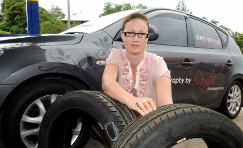 Bambi Wixon had to foot the bill for new tyres and rims for her Hyundai after hitting massive potholes on the Bruce Highway on her way home from Maryborough.