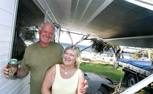 Gold Coast caravanners Robert and Carole Bond love the beach outlook of the Mooloolaba Caravan Park.
