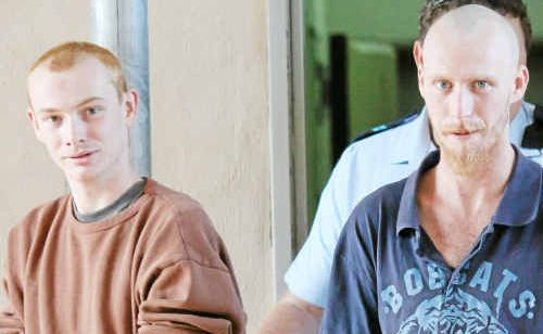 Caleb Ezekiel Rogers, 18, with brother Joseph Luke Rogers, 23, are led to the Warwick Magistrates Court where they narrowly escaped jail time after facing a total of 15 charges.