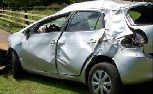 The car involved in the single-vehicle accident.