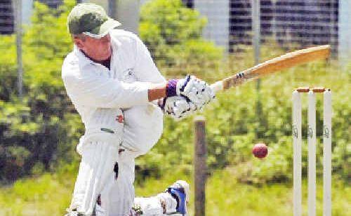Paul Everingham sweeps while batting for Lennox Head in the Far North Coast LJ Hooker League.